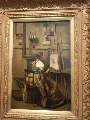 Corot, L'Atelier de Corot, jeune femme assise devant un chevalet, 1873; the audioguide provided little information beyond what the painting labels said