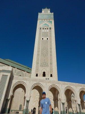 60 story minaret has laser light on top directed towards Mecca