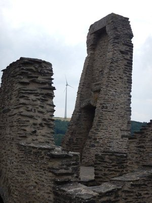 The juxtaposition between 1000 year old castles and new wind turbines was seen many times around the country