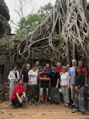 Ta Prohm was built in the late 12th century but abandoned after the fall of the Khmer Empire in the 15th century; it is the most picturesque temple here as the jungle works to take back what man created
