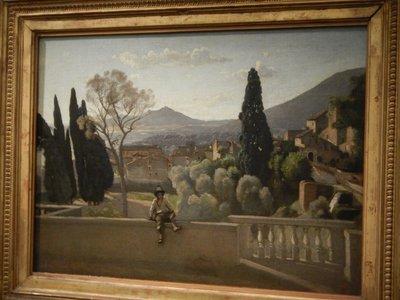 Corot, The Gardens of the Villa de Este, Tivoli, 1843; there was a special exhibition of Corot's works
