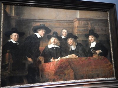 Rembrandt, The Wardens of the Amsterdam Drapers Guild, 1662; older people will remember this painting from the Dutch Masters cigar advertisements