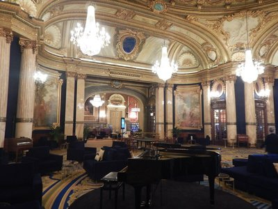 No expense was spared in decorating the Casino; crystal chandeliers, Swiss clocks, French  artwork and marble throughout