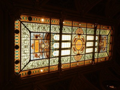 Magnificent 1889 Art Nouveau stained glass ceiling at the Casino; surprisingly, man buns still seem all the rage