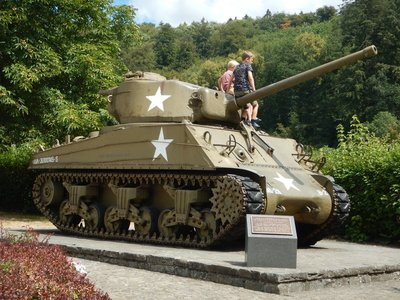 This Sherman tank is the last surviving vehicle of the 9th armored division; it was put out of action here at the gate defending Clervaux Castle