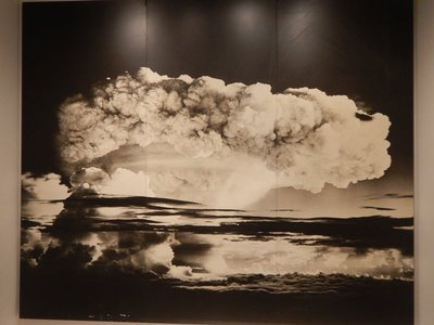 This nuclear bomb test in the Marshall Islands destroyed the atoll it hit; having seen the destruction in Japan, Steichen was concerned about the use of nuclear weapons