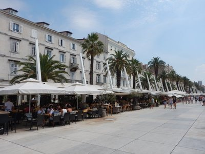 The Riva is the most scenic area in Split with people dining by the sea watching the ferries and cruise ships; the largest shipyard in Croatia is located in Split