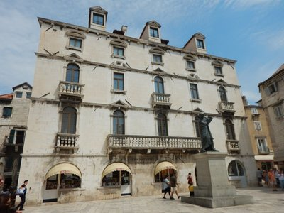 The Baroque Milesi Palace anchors one end of Fruit's Square; the squares in Split used to be like the different sections of a grocery store now with each having a different specialty