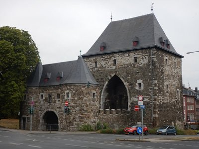 The 14th century Ponttor is one of two surviving city gates; Aachen is the westernmost city in Germany and has a population of 250,000