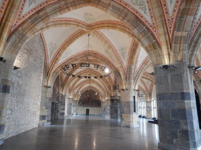 The Coronation Hall in the City Hall is 45 meters long and 18.5 meters wide and was completed in 1349; it was the largest secular hall in the Holy Roman Empire