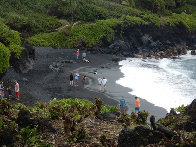 The only volcanic black sand beach on Maui is at Waianapanapa State Park making it extremely popular with reservations required; the lava flows here are only 500 years old