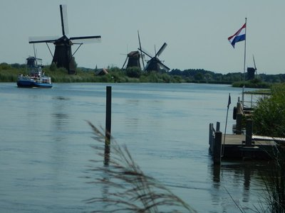 26% o the Netherlands lies below sea level; built around 1740, there are 19 windmills here at Kinderdijk