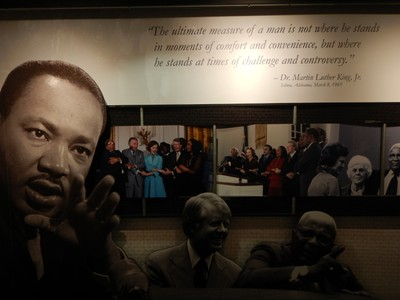 Despite the government shutdown, the MLK National Historic Site was open thanks to a grant from the Delta Airlines Foundation; the site is looking worn and is in need of maintenance and updating of content