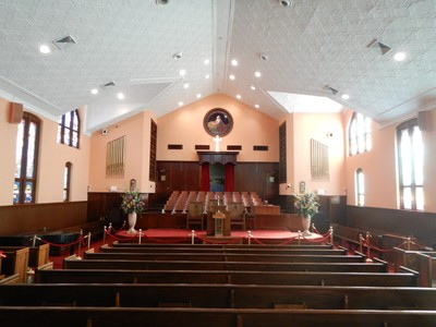 Ebeneezer Baptist Church has been restored but the current congregation meets across the street in a much larger venue