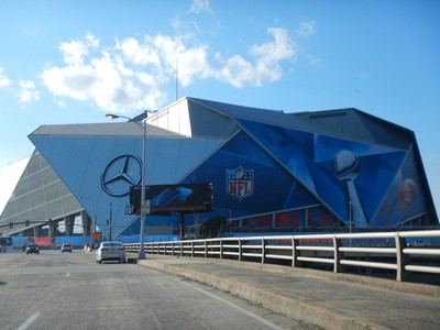 My mom wanted to see where the Super Bowl was going to be played; the entire area was being outfitted for parties, the media and special events
