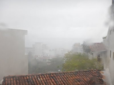 We had several rainy days and many overcast days in this city of 220,000; view from our nice condo out to Banderas Bay