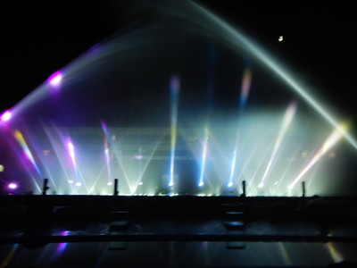 Each evening there is a laser and sound show with water fountains that can shoot water 130 ft high; kids enjoyed the laser images of sea characters and the choreographed show