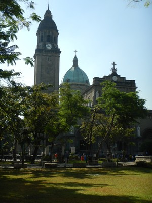 The Manila Cathedral was first built in 1581 and has been rebuilt 7 times since then, most recently in 1951 after WW2; in 1981 Pope John Paul II designated the cathedral a minor basilica
