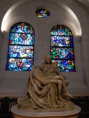 This replica of Michelangelo's Pieta in Manila Cathedral was made from the original mold; in 2015 Pope Francis celebrated his first mass in the country here