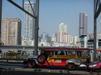Jeepneys are ubiquitous and ply designated routes with riders getting on and off along the way; Manila is very densely populated which has caused the city to be called the world's most congested and the one with the worst traffic