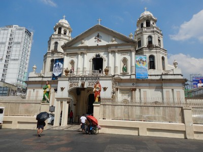 The Baroque facade of the Quiapo Church; Manila is the most densely populated city proper in the world and it sure feels that way in this neighborhood