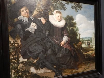 Hals, Portrait of a Couple, Probably Isaac Abrahamsz Massa and Beatrix van der Laen, 1622; this likely wedding portrait shows a happy couple rather than the stoic images that had been the norm