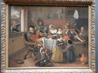 Steen, The Merry Family, 1668; this multi-generational drunken family reflects the notorious leniency of Dutch Golden Age parents