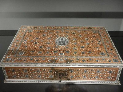 Document Case, South India, 1720; gorgeous, intricate ivory inlay decoration adorns this briefcase of its time
