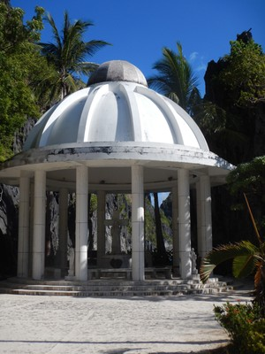 The Matinloc Shrine was built in 1982 but it and the neighboring buildings have been abandoned; there were several monuments to Ferdinand Marcos to date the site even further