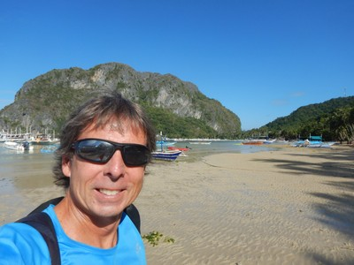 On the beach at low tide before heading out on Island Hopping Tour A; the destinations on Tour A were much closer to El Nido than those on Tour C