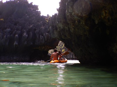 Pair kayaking through the entrance to the Small Lagoon; I swam but given shallow waters over coral fields I was glad that excursions were encouraging people to enter via kayak