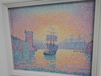 Signac, Harbor of Marseille, 1898; the large sculpture garden was pleasant with the scent of spruce trees in the air