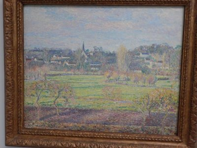Pissarro, February sunrise, Bazincourt, 1893;  I've really grown to love the colorful landscapes of Sisley and Pissarro