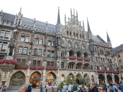 The New Town Hall looks medieval but was actually built in the late 1800s; the impressive facade lines one entire side of the Marienplatz
