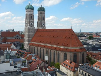 Completed in 1488, Frauenkirche is Munich's Cathedral and was home church to future Pope Benedict XVI; the twin onion domes are a symbol of the city and emulated at churches across Bavaria
