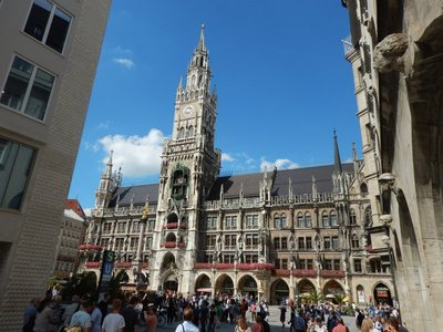 The New Town Hall is famous for its glockenspiel which, performed 3 times a day, has a carillon accompanying colorful figures that spin and dance to the story of a 1568 wedding here