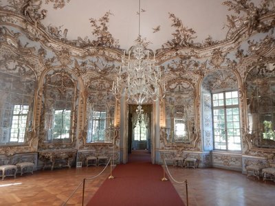 The Hall of Mirrors in the Amalienburg is a masterpiece of European rococo art; the 1739 building was built as a summer residence and hunting lodge