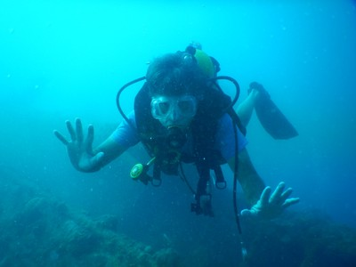 My divemaster thought I'd like a photo of me (or he just wanted to see my camera) so here I am near the East Tangat Gun Boat