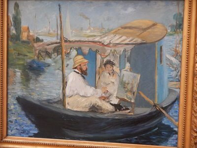 Manet, Monet Painting on His Studio Boat, 1874