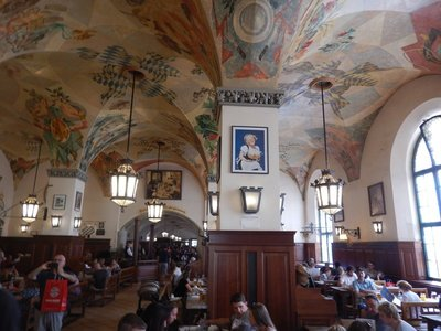 The Hofbrauhaus is the world's most famous beer hall; built in 1880, this restaurant seats 5000 and was very busy on the weekday I walked through