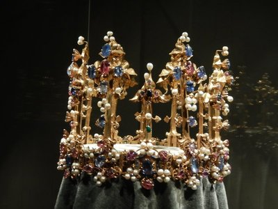 The Crown of Princess Blanche is the oldest surviving English royal crown (1370); made of gold with diamonds, rubies, emeralds, sapphires, enamel and pearls, it has been described as one of the finest achievements of the Gothic goldsmith