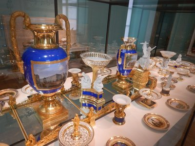 As a wedding gift in 1842 from the Berlin court, Princess Marie brought this set (only a fraction shown) to Munich from the Royal Porcelain Manufactory