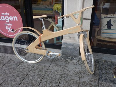 Bikes seemed to be the best way to get around Munich; there were plenty of beater bikes and racing bikes but this was the only wooden bike I saw