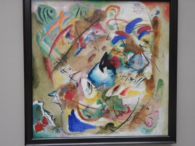 Kandinsky, Dreamy Improvisation, 1913; rather than have descriptors on each painting, there was just one page in the corner of the room describing that room's artworks which I found frustrating