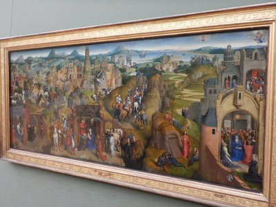 Memling, Advent and Triumph of Christ, 1480; originally made for a church in Brugges, this work shows 25 episodes from the life of Christ