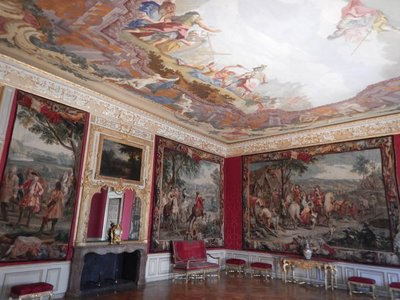Belgian tapestries from 1715 adorn this room in the apartment of Elector Max Emanuel; Max Emanuels's son Emperor Charles VII Albert preferred the more private atmosphere of Nymphenburg Palace, so only one of four planned wings was completed