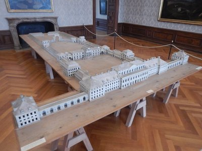 This model shows the original plan for the Schleissheim Palace complex; after Max Emanuel lost Bavaria in the War of the Spanish Succession palace plans were scaled down