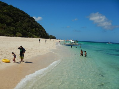 Puka Beach; after the island reopened to tourists in October 2018 not all business establishments were allowed to reopen and tourist influx is still being controlled