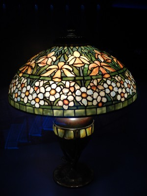 Crutch Oval Base with Turtleback Tile Band (ca. 1900-06) with Daffodil and Narcissus Shade (ca. 1910-13); Tiffany is best known for leaded glass lamps, but it's interesting that Tiffany was most proud of his blown glass vases and leaded glass windows