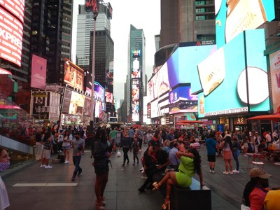 One of the world's busiest pedestrian areas, Times Square is often referred to as The Crossroads of the World with an estimated 50 million annual visitors; formerly known as Longacre Square, it was renamed in 1904 after The NY Times moved its HQ there